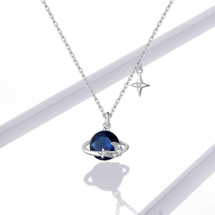 Colier argint reglabil Planeta Albastra, cu Luna si Stelute [5]