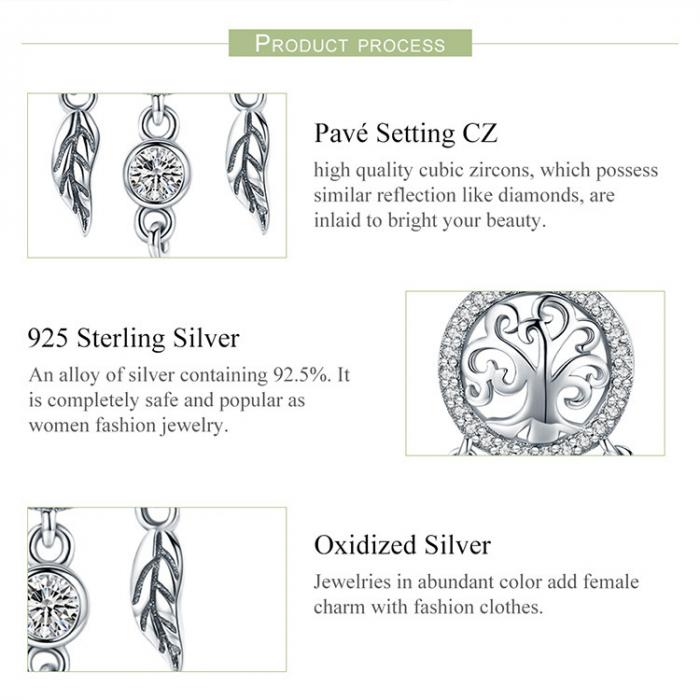 Colier argint reglabil cu Dream Catcher cu Copacul Vietii 3