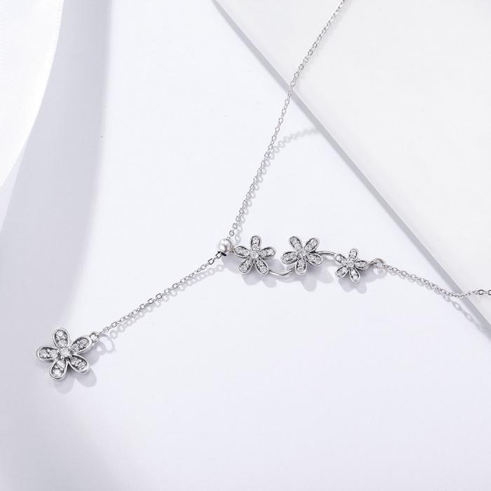 Colier argint reglabil cu flori si zirconii 3