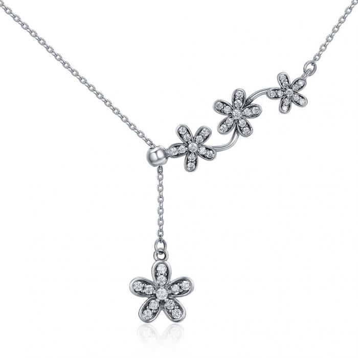 Colier argint reglabil cu flori si zirconii 0