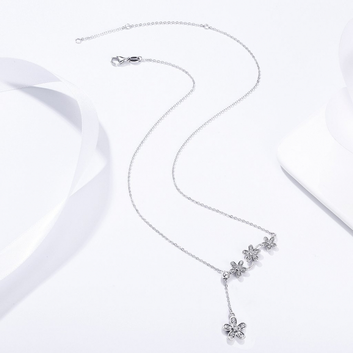 Colier argint reglabil cu flori si zirconii 2