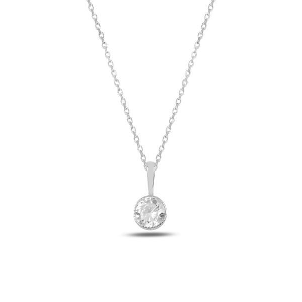 Colier argint rodinat cu zirconiu alb placat cu rodiu - CTU0101 0