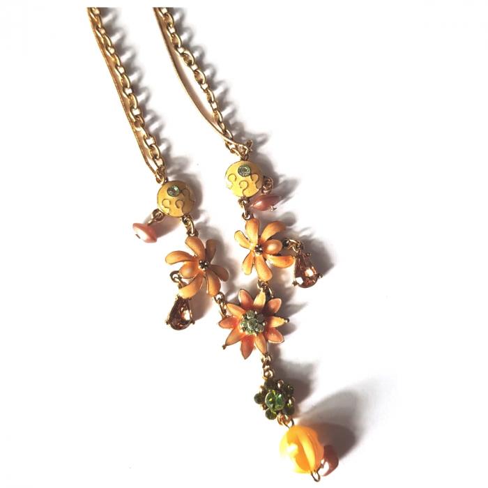 Colier auriu cu floricele maro [1]