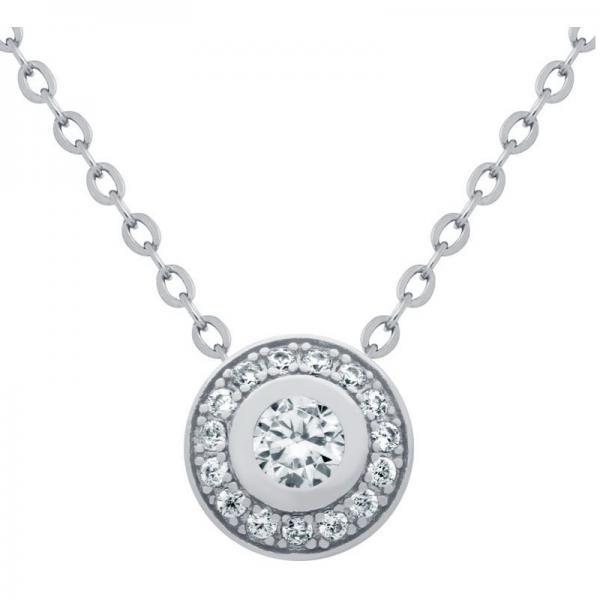 Colier elegant argint 925 rodiat cu zirconii 1