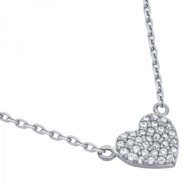 Colier elegant inimioara argint 925 rodiat si zirconii 0