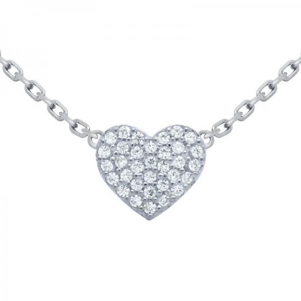 Colier elegant inimioara argint 925 rodiat si zirconii 1