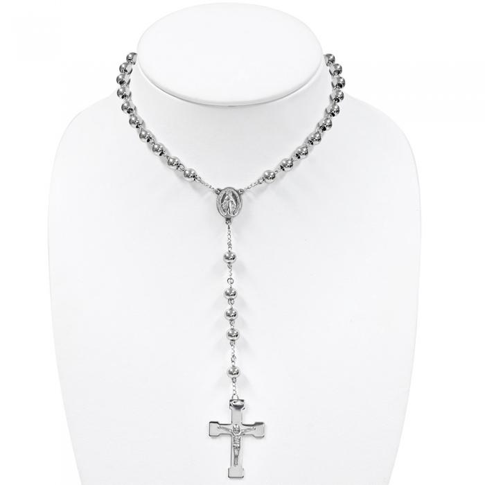 Colier ROZARIU Rosary din inox cu ionita si crucifix LSL0297 1