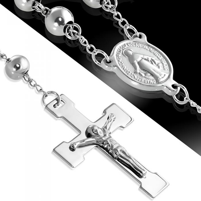 Colier ROZARIU Rosary din inox cu ionita si crucifix LSL0297 0