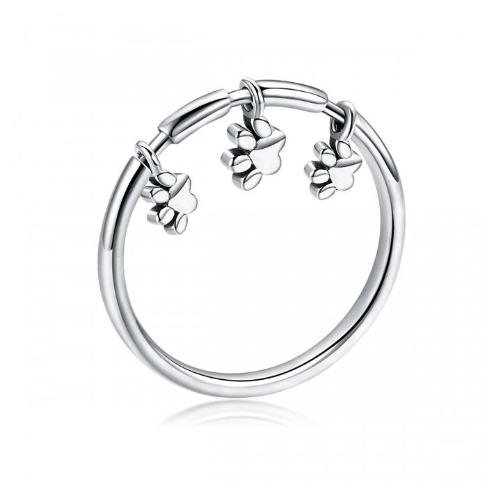 Inel argint 925 cu amprente labute catel - Be Nature IST0052 [0]