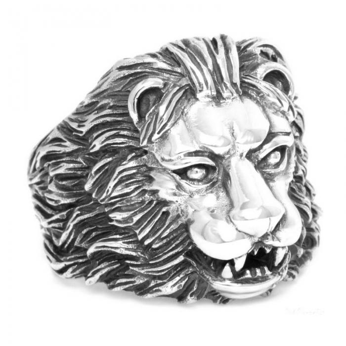 Inel argint 925 cu cap de leu, Aslan 6