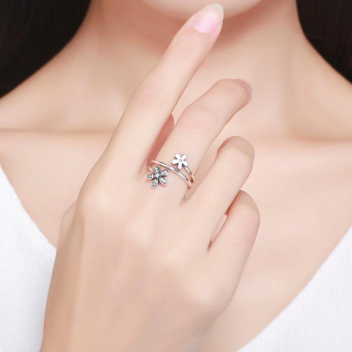 Inel argint 925 cu doua floricele si zirconii albe - Be Nature IST0026 3