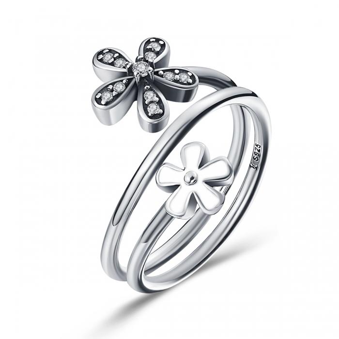 Inel argint 925 cu doua floricele si zirconii albe - Be Nature IST0026 0