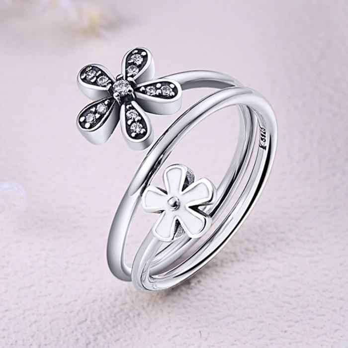 Inel argint 925 cu doua floricele si zirconii albe - Be Nature IST0026 4