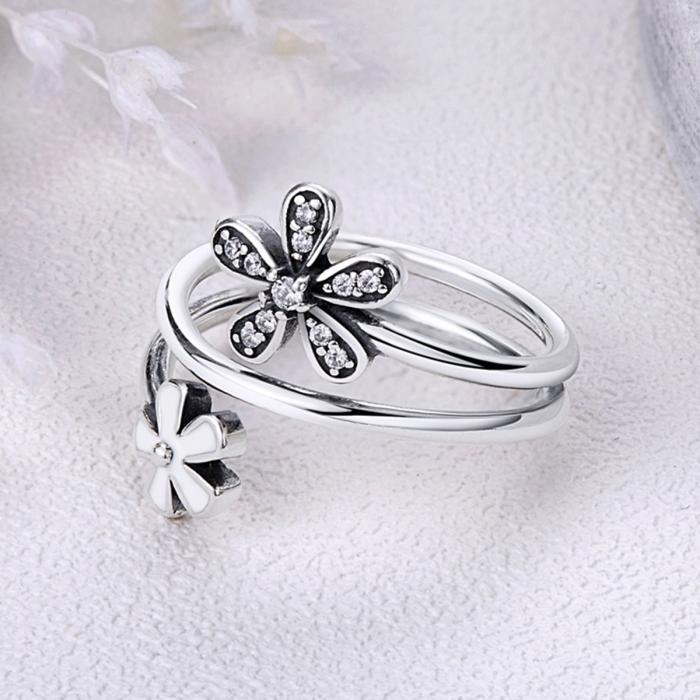 Inel argint 925 cu doua floricele si zirconii albe - Be Nature IST0026 2
