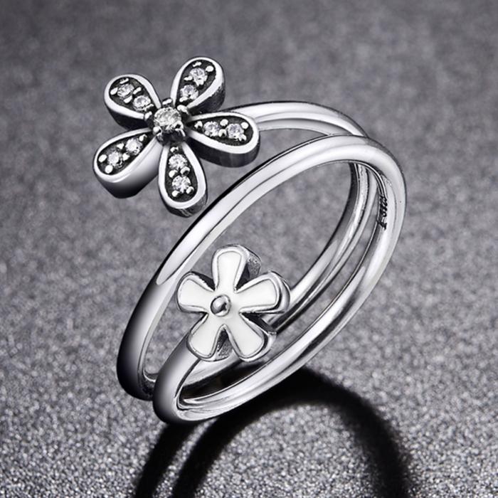 Inel argint 925 cu doua floricele si zirconii albe - Be Nature IST0026 1