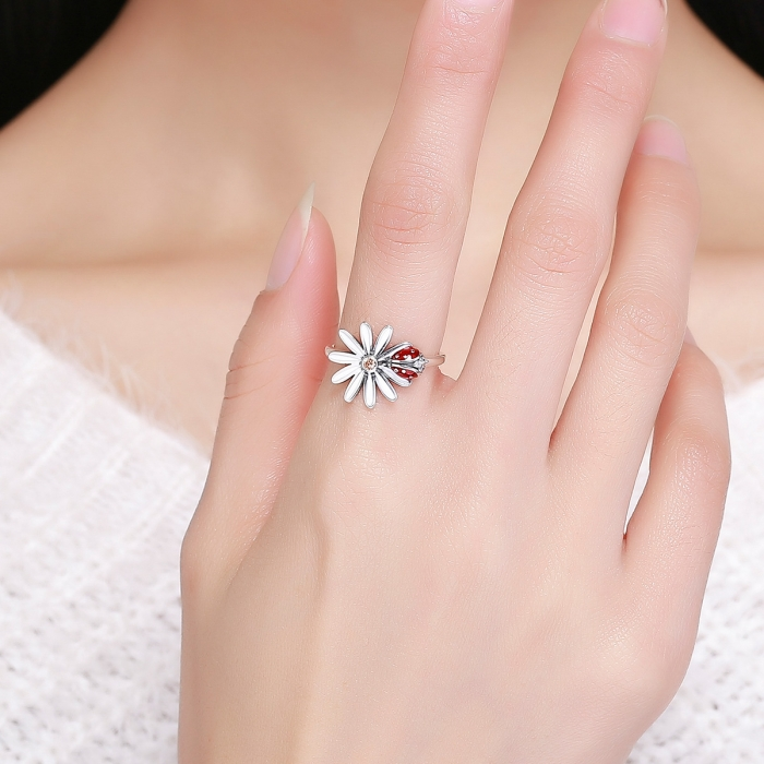 Inel argint 925 cu floare si gargarita- Be Lucky IST0042 4