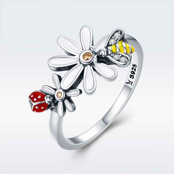 Inel argint 925 cu floare si gargarita - Be Lucky IST0046 2