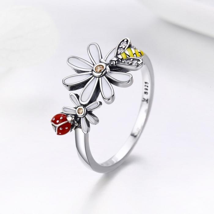 Inel argint 925 cu floare si gargarita - Be Lucky IST0046 3