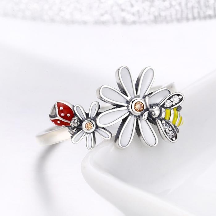 Inel argint 925 cu floare si gargarita - Be Lucky IST0046 4