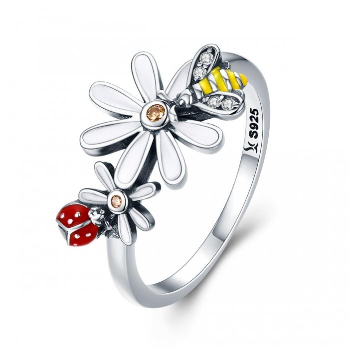 Inel argint 925 cu floare si gargarita - Be Lucky IST0046 0