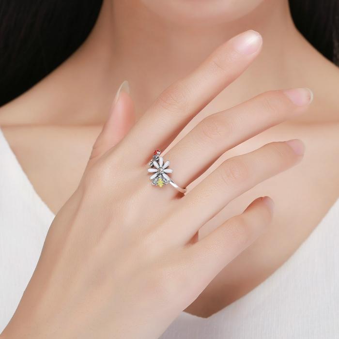 Inel argint 925 cu floare si gargarita - Be Lucky IST0046 5