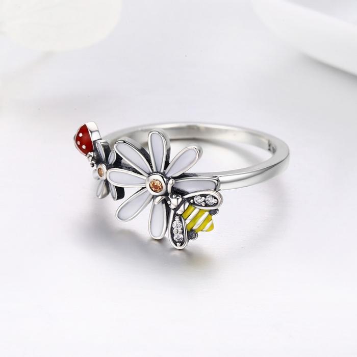 Inel argint 925 cu floare si gargarita - Be Lucky IST0046 1