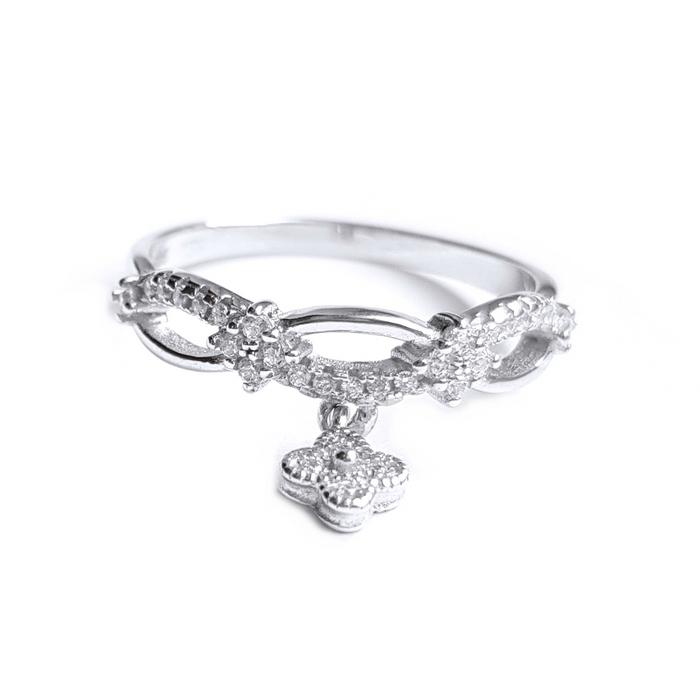 Inel argint 925 rodiat cu charm floare si zirconii albe 0