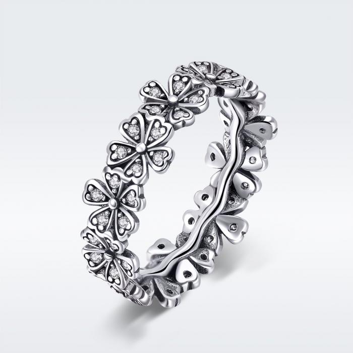 Inel argint 925 cu floricele delicate si zirconii albe - Be Nature IST0059 [4]