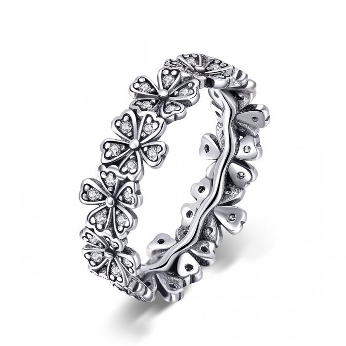 Inel argint 925 cu floricele delicate si zirconii albe - Be Nature IST0059 [0]