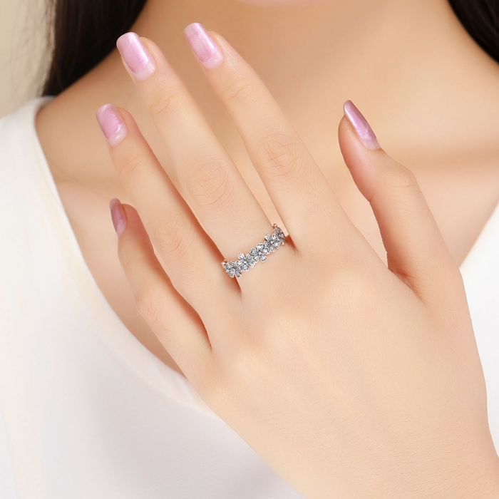 Inel argint 925 cu floricele delicate si zirconii albe - Be Nature IST0059 [5]