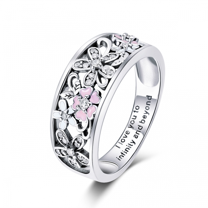 Inel argint 925 cu floricele - I love you to infinity and beyond - Be Nature IST0055 4