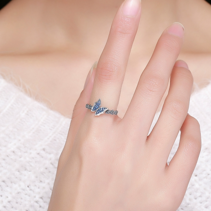 Inel argint 925 cu floricele si fluturas albastru - Be Nature IST0043 2