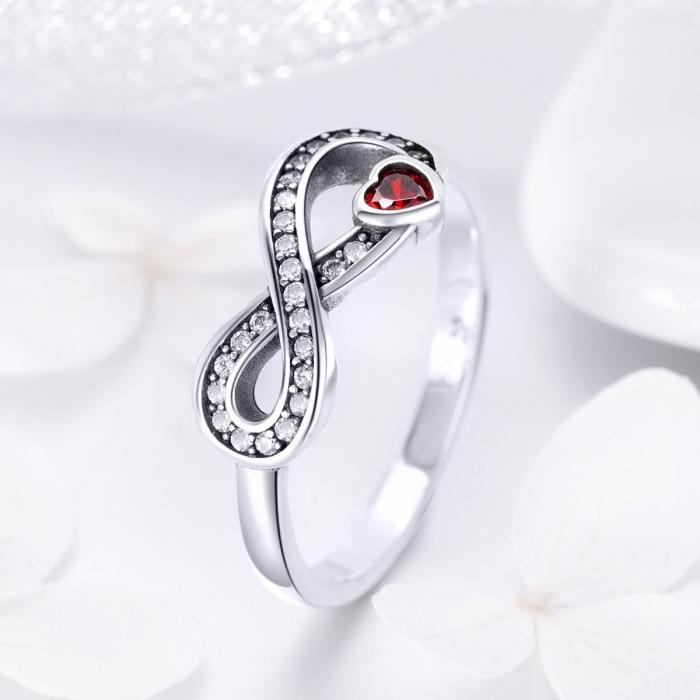 Inel argint 925 cu infinit si inimioara rosie - Infinite You IST0062 1