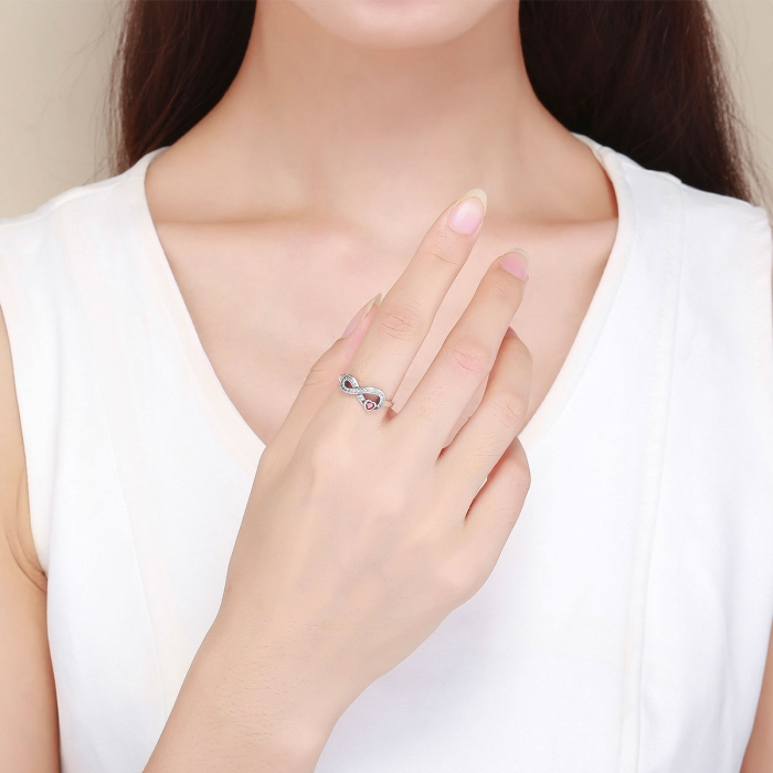 Inel argint 925 cu infinit si inimioara rosie - Infinite You IST0062 4
