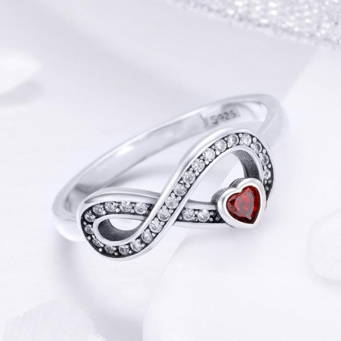 Inel argint 925 cu infinit si inimioara rosie - Infinite You IST0062 2