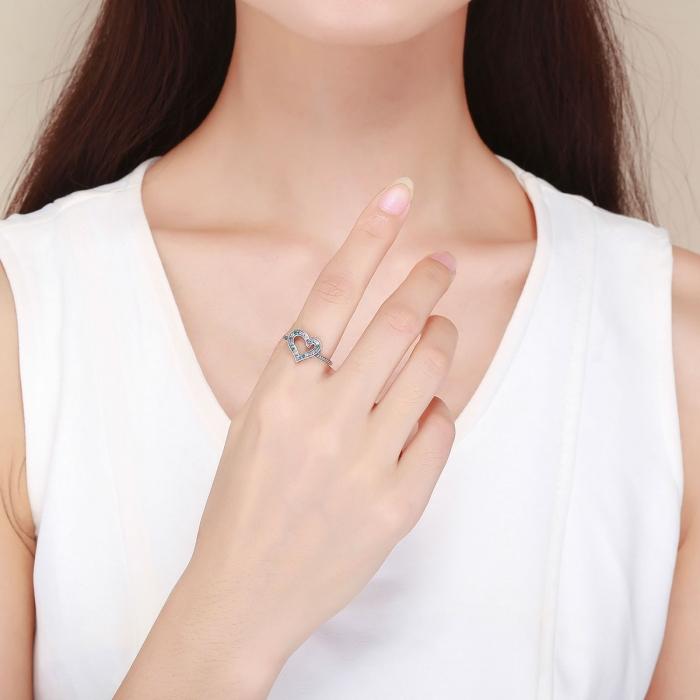 Inel argint 925 cu inimioara si zirconii multicolore - Be in Love IST0061 4