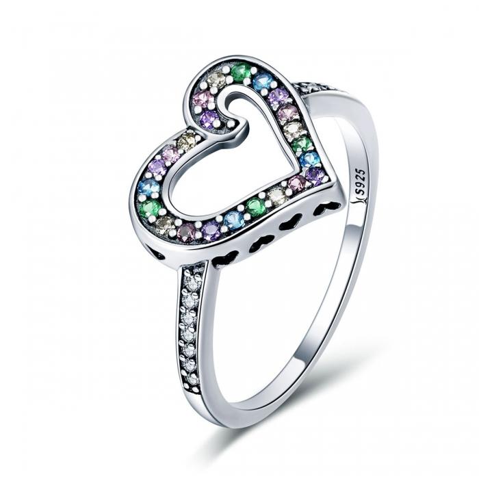 Inel argint 925 cu inimioara si zirconii multicolore - Be in Love IST0061 0