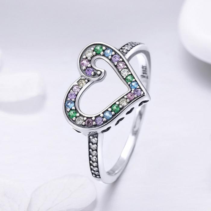Inel argint 925 cu inimioara si zirconii multicolore - Be in Love IST0061 1