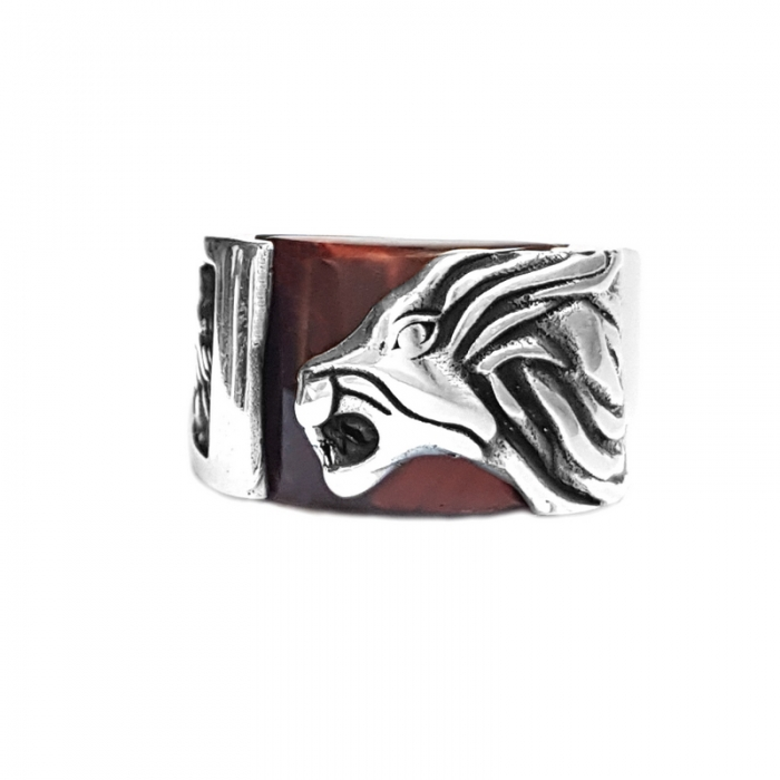 Inel argint 925 cu leu si ochi de tigru 0