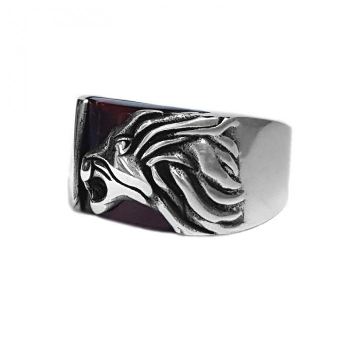 Inel argint 925 cu leu si ochi de tigru 2