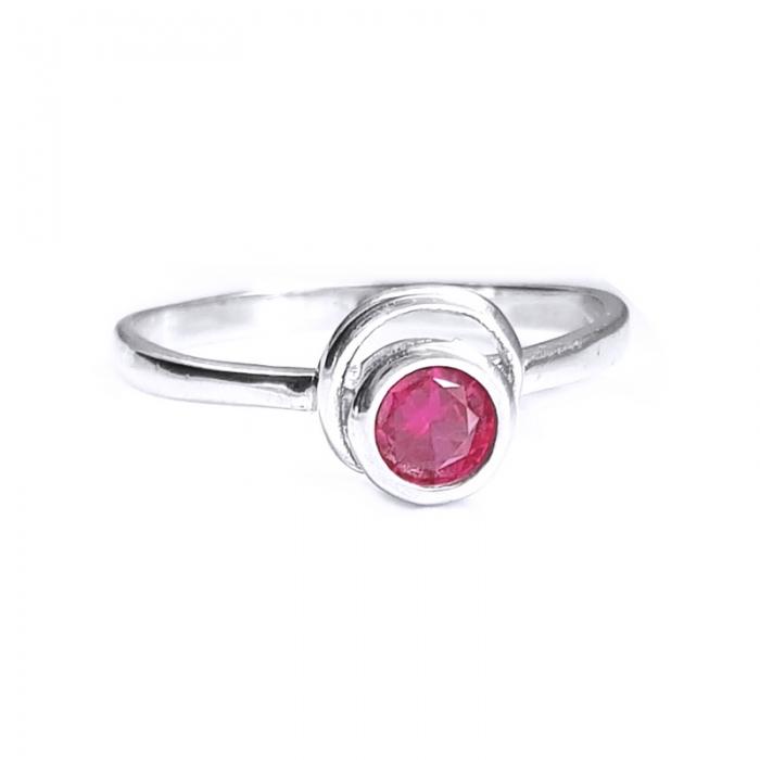 Inel argint 925 cu piatra roz 0