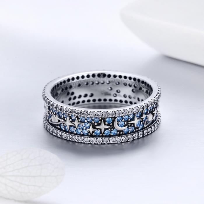 Inel argint 925 cu stelute, planete, semiluni si zirconii - Be Nature IST0050 1