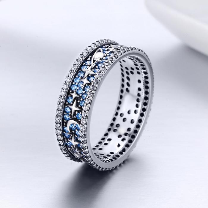 Inel argint 925 cu stelute, planete, semiluni si zirconii - Be Nature IST0050 4