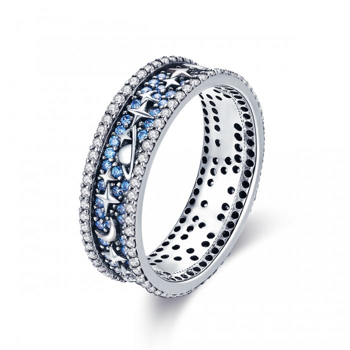 Inel argint 925 cu stelute, planete, semiluni si zirconii - Be Nature IST0050 0