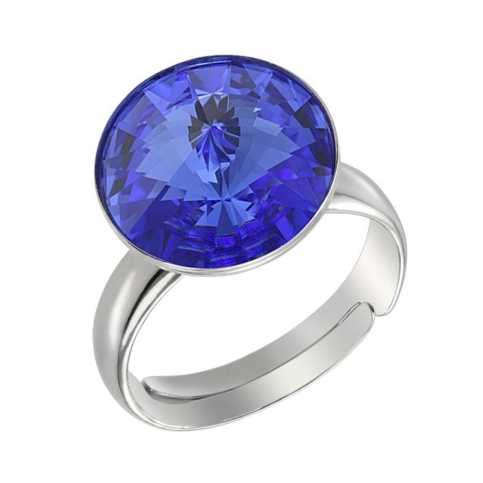 Inel argint 925 rodiat Reglabil cu swarovski elements 12 mm Sapphire 0