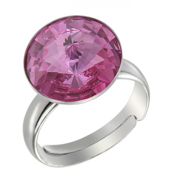 Inel argint 925 cu swarovski elements roz reglabil 0