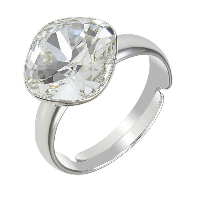 Inel argint 925 Reglabil cu swarovski elements 10mm Crystal Clear 0