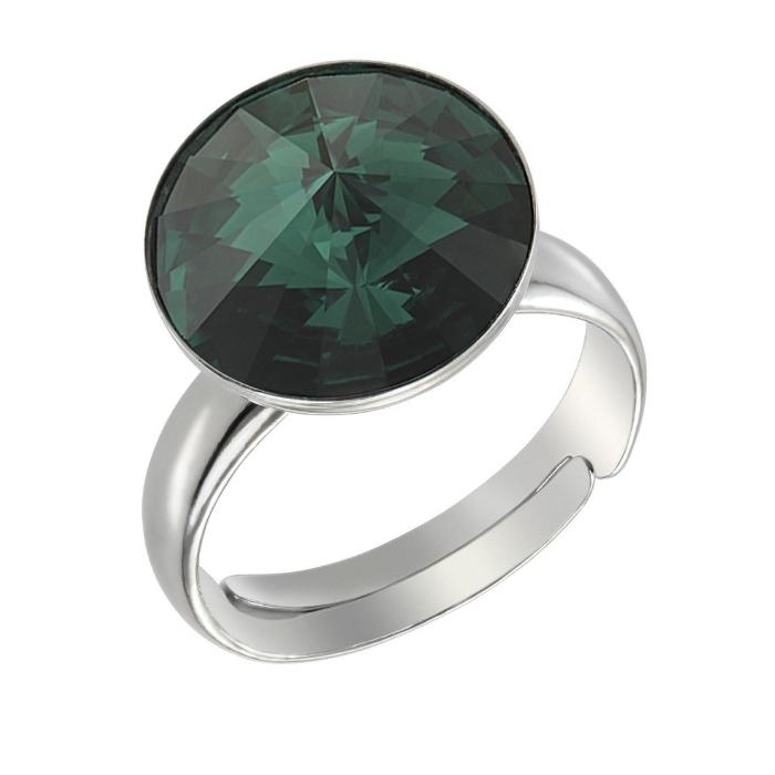 Inel argint 925 rodiat cu swarovski elements 12 mm Emerald [0]
