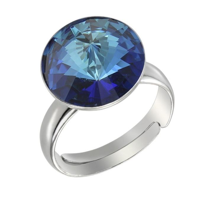 Inel argint 925 cu swarovski elements 12mm Bermuda Blue [0]