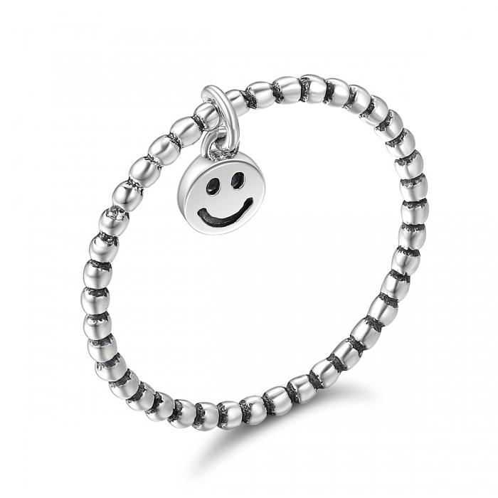 Inel argint 925 cu talisman fata zambitoare Smiley Face - Be Authentic IST0034 0
